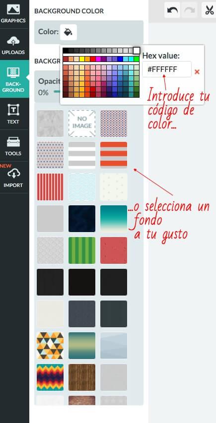 Cómo cambiar el color de fondo de tu infografía