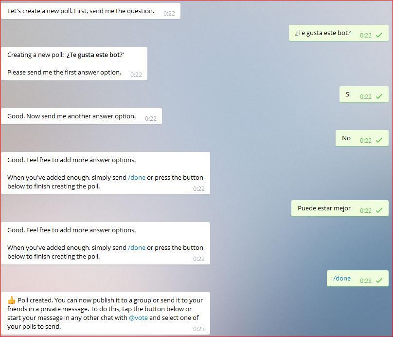 Growth Hacking con Telegram: creando encuestas