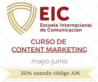 No me pierdo el curso de #ContentMarketing de @eicomunicacion con descuento del 30%