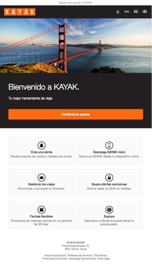 Email de Bienvenida de Kayak