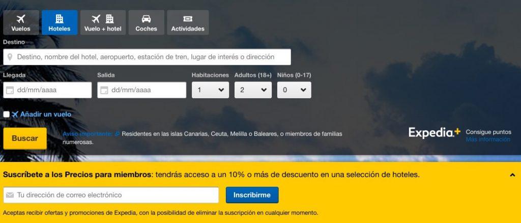 Proceso de registro de Expedia